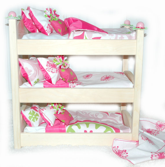 triple doll bunk bed make a wish american made girl doll bed fits ag doll and 18 inch dolls. Black Bedroom Furniture Sets. Home Design Ideas