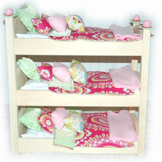Triple Doll Bed - Kumani Garden Triple Bunk - Fits 18 inch dolls and AG dolls - American Girl Furniture